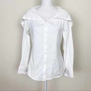 Theory white button down top